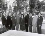 1987 THISCO planning meeting: (from left) Bruce Covill, John B. Evans, Bob McGrail, Bill Watson; (from right) John Ballantyne, Jim Yoakum, Tom Castleberry.