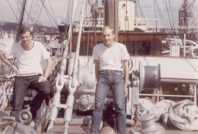 Terrible shot of myself and Roger Trusdale on Foxcastle in Naples dockyard